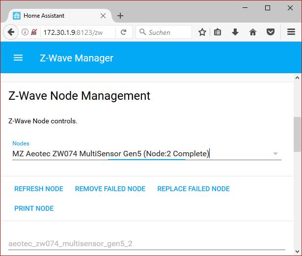 Home Asisstent UI Z-Wave Nodes