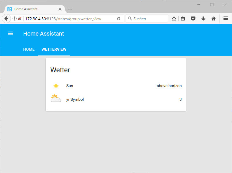 Home Assistant Wetter