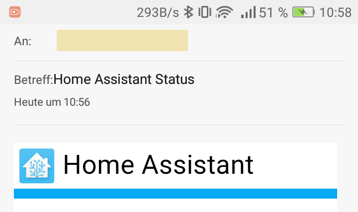 Home Assistant Status Email Kurz