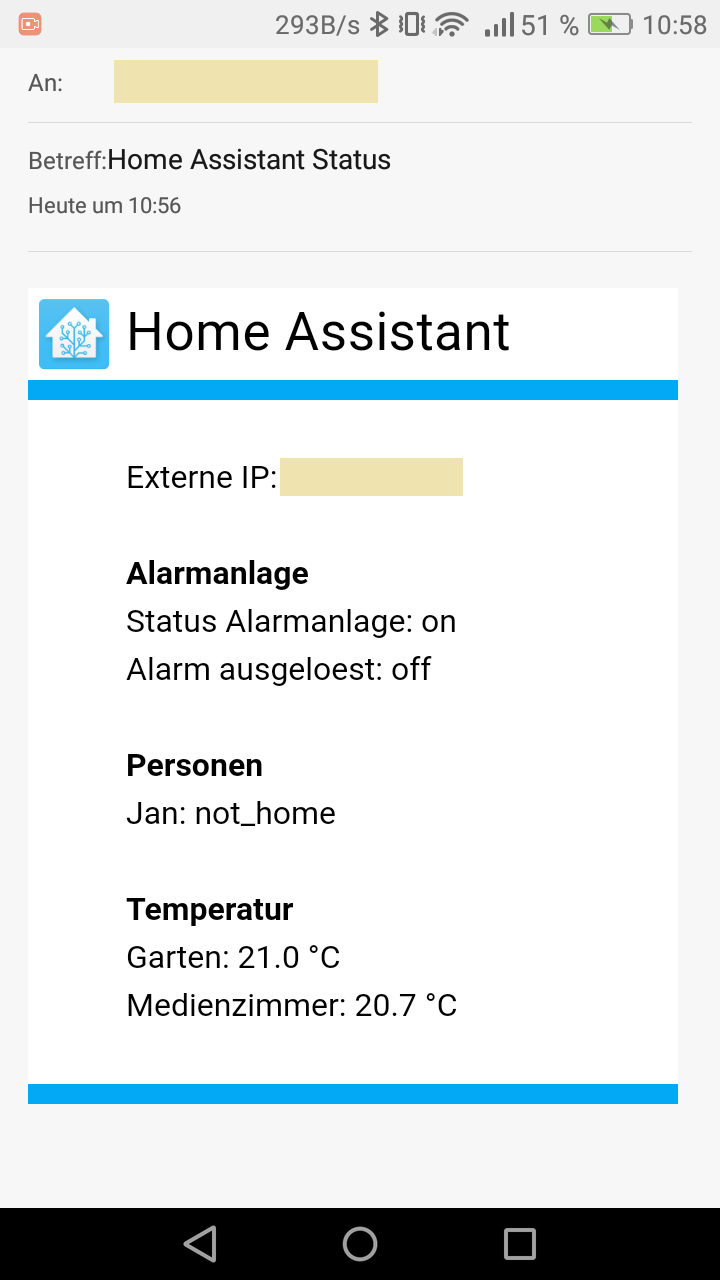 Home Assistant Status Email