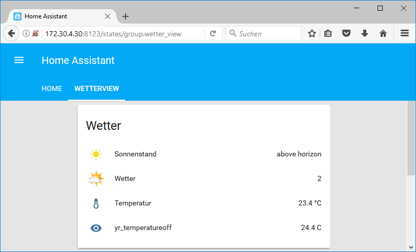 Home Assistant UI mit Offset